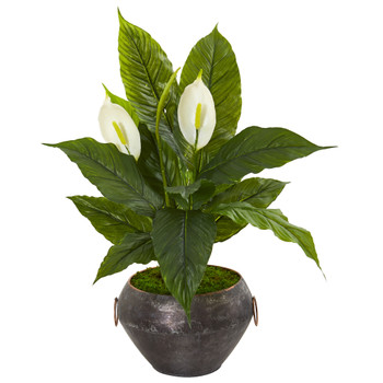 27 Spathiphylum Artificial Plant in Metal Bowl Real Touch - SKU #9488