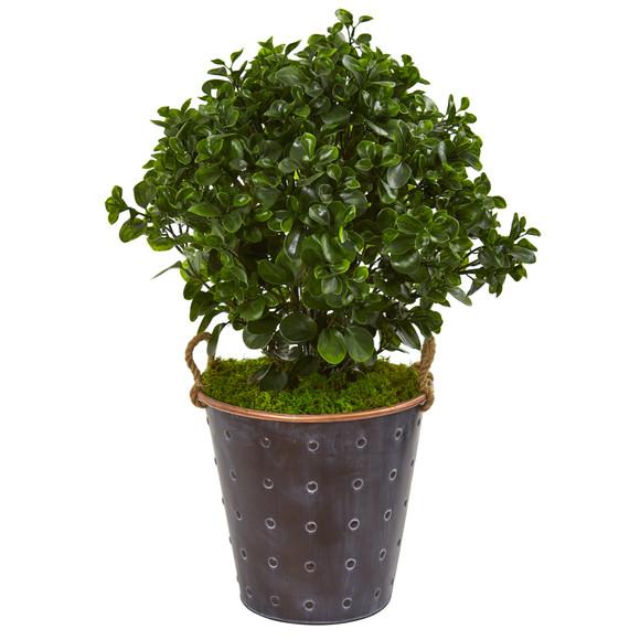 2.5 Peperomia Artificial Plant in Metal Planter UV Resistant Indoor/Outdoor - SKU #9489