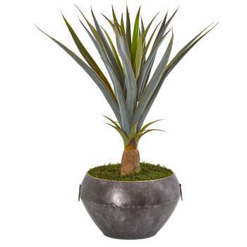 2.5 Agave Artificial Plant in Metal Bowl - SKU #9491