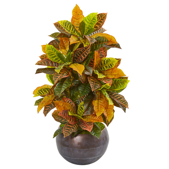37 Croton Artificial Plant in Metal Bowl Real Touch - SKU #9493