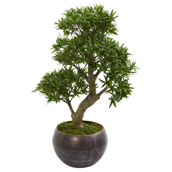 37 Podocarpus Artificial Bonsai Tree in Metal Bowl - SKU #9494