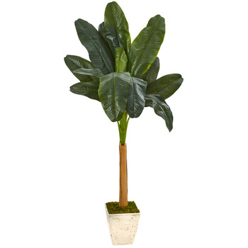 75 Banana Artificial Tree in Country White Planter - SKU #9497