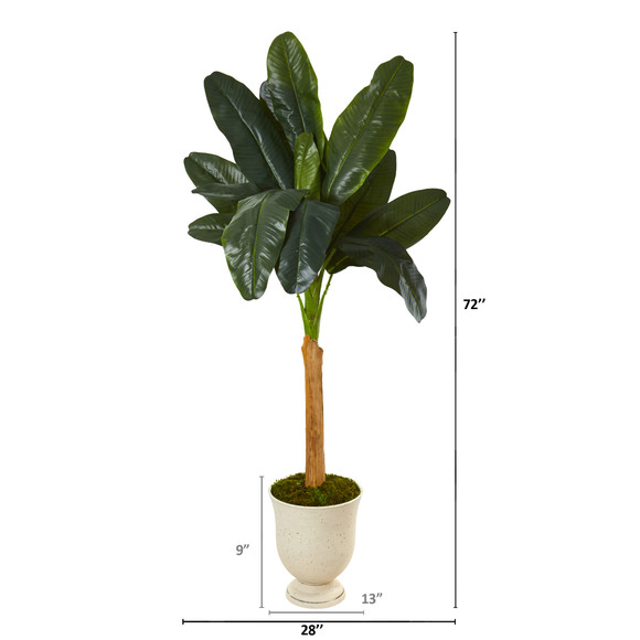 6 Banana Artificial Tree in Decorative Urn - SKU #9498 - 1