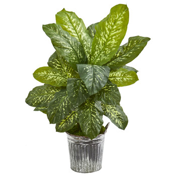 38 Dieffenbachia Artificial Plant in Vintage Metal Bucket Real Touch - SKU #9499