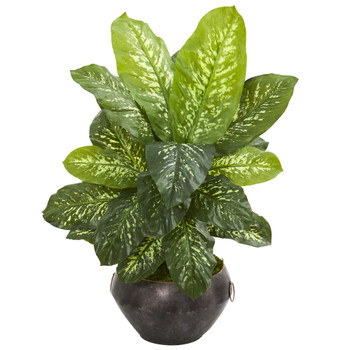 35 Dieffenbachia Artificial Plant in Metal Bowl Real Touch - SKU #9501