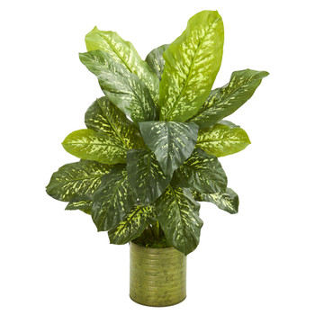 36 Dieffenbachia Artificial Plant in Green Planter Real Touch - SKU #9502