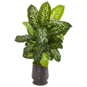 4 Dieffenbachia Artificial Plant in Ribbed Metal Planter Real Touch - SKU #9503