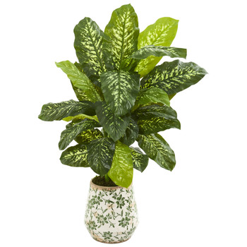 50 Dieffenbachia Artificial Plant in Decorative Planter Real Touch - SKU #9504
