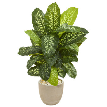 4 Dieffenbachia Artificial Plant in Sandstone Planter Real Touch - SKU #9505