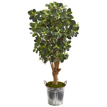 45 Panda Ficus Artificial Tree in Vintage Metal Bucket - SKU #9508