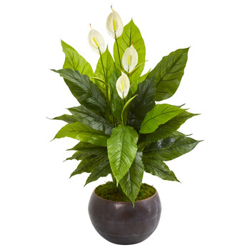 44 Spathiphyllum Artificial Plant in Metal Bowl Real Touch - SKU #9510