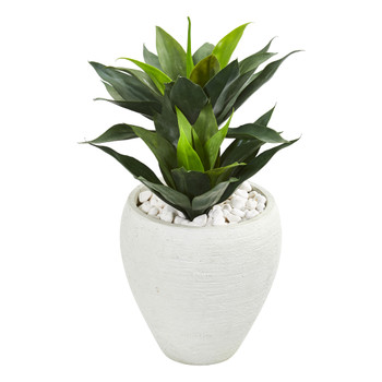 26 Double Agave Artificial Plant in White Planter - SKU #9511