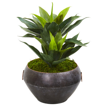 21 Agave Artificial Plant in Metal Bowl - SKU #9513