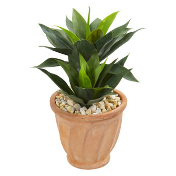24 Double Agave Artificial Plant in Terra Cotta Planter - SKU #9514