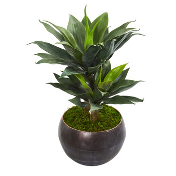 31 Double Agave Artificial Plant in Metal Bowl Planter - SKU #9516