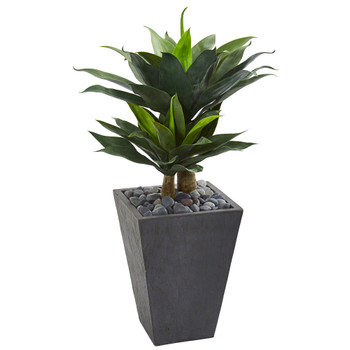 37 Double Agave Succulent Artificial Plant in Slate Planter - SKU #9517
