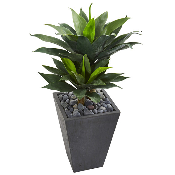 37 Double Agave Succulent Artificial Plant in Slate Planter - SKU #9517 - 1