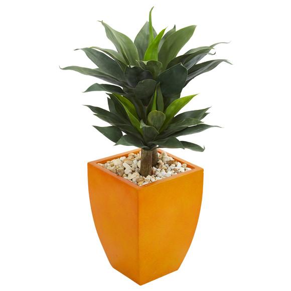 3 Double Agave Succulent Artificial Plant in Orange Planter - SKU #9518