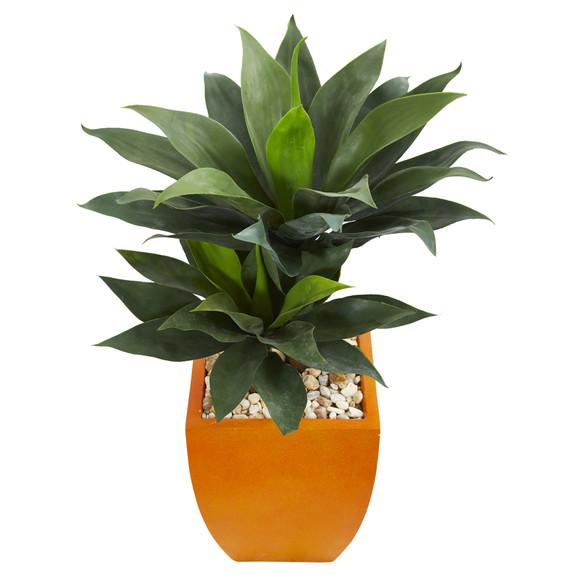 3 Double Agave Succulent Artificial Plant in Orange Planter - SKU #9518 - 1