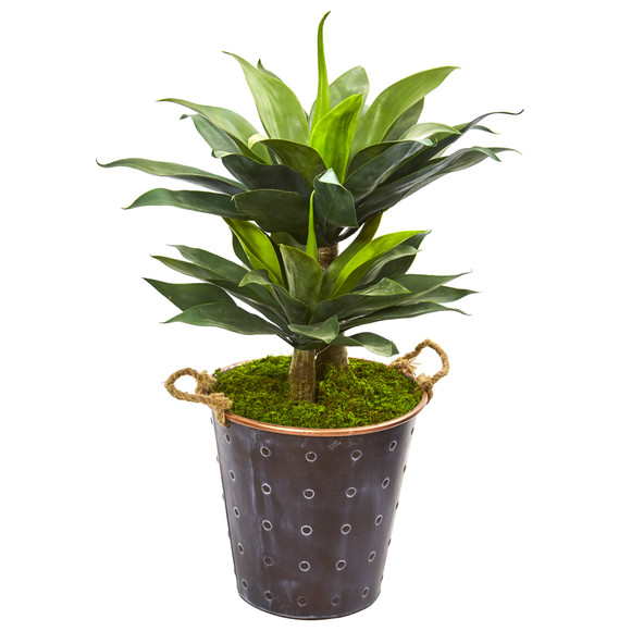 34 Double Agave Succulent Artificial Plant in Metal Planter - SKU #9519
