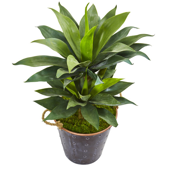 34 Double Agave Succulent Artificial Plant in Metal Planter - SKU #9519 - 1