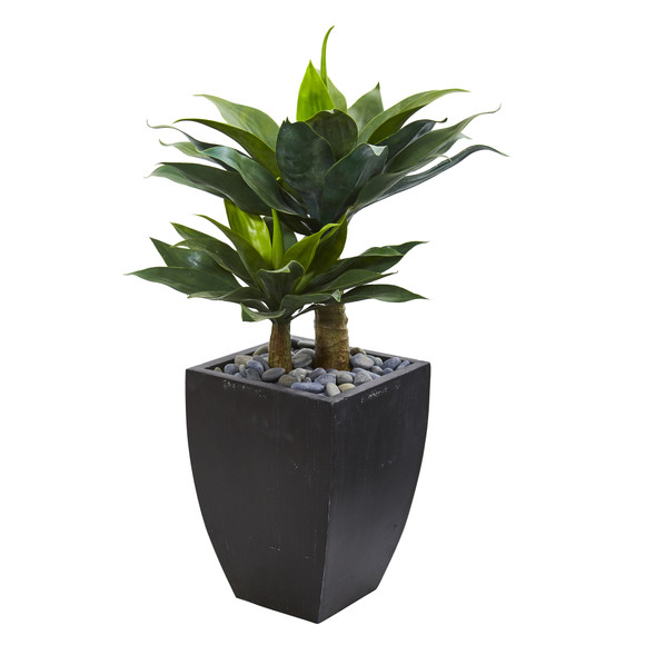 37 Double Agave Succulent Artificial Plant in Black Planter - SKU #9520
