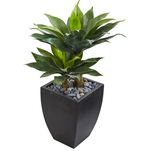 37 Double Agave Succulent Artificial Plant in Black Planter - SKU #9520 - 1