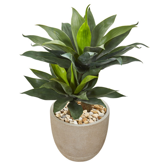 34 Double Agave Succulent Artificial Plant in Sand Stone Planter - SKU #9521