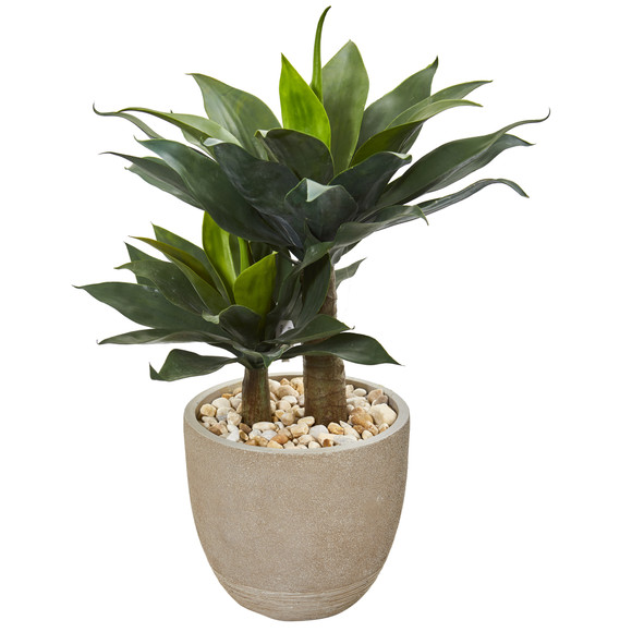 34 Double Agave Succulent Artificial Plant in Sand Stone Planter - SKU #9521 - 1