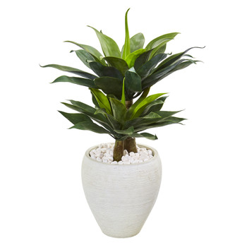 33 Double Agave Succulent Artificial Plant in White Planter - SKU #9522