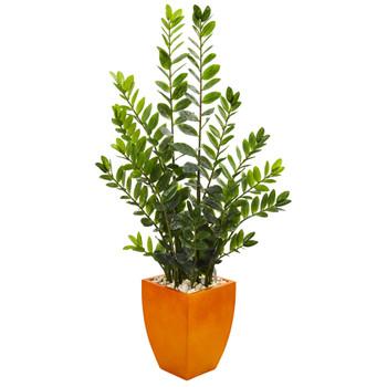 5 Zamioculcas Artificial Plant in Orange Planter - SKU #9523