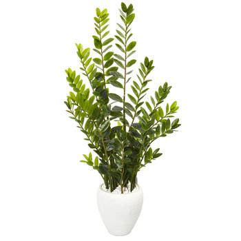 4.5 Zamioculcas Artificial Plant in White Planter - SKU #9527