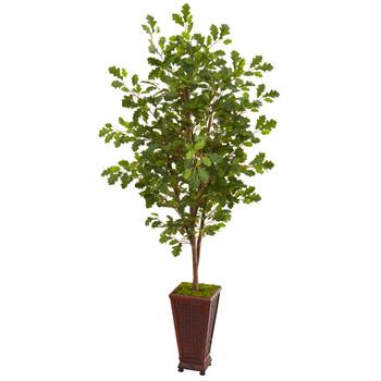 74 Oak Artificial Tree in Decorative Planter - SKU #9534