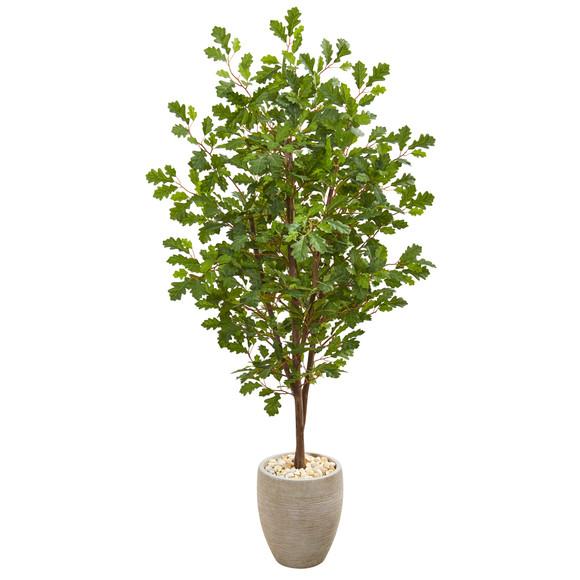 69 Oak Artificial Tree in Sand Colored Planter - SKU #9537