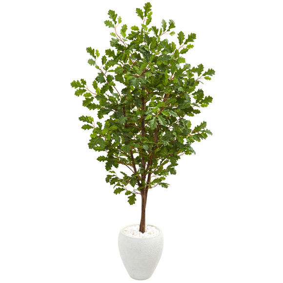 68 Oak Artificial Tree in White Planter - SKU #9538