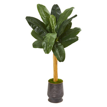 5 Banana Artificial Tree in Ribbed Metal Planter - SKU #9539
