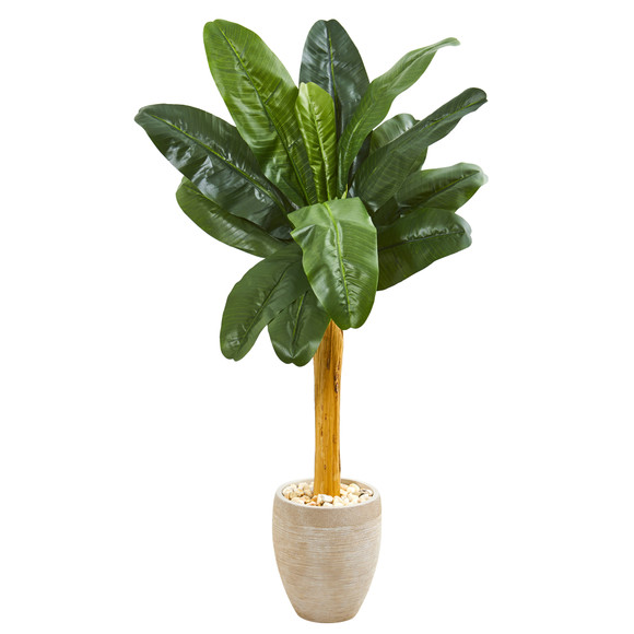 58 Banana Artificial Tree in Sand Colored Planter - SKU #9541