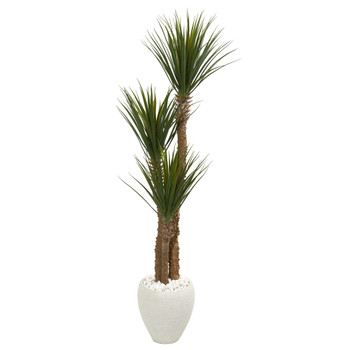 5.5 Yucca Artificial Tree in White Planter - SKU #9544