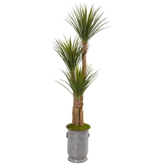 65 Yucca Artificial Tree in Metal Planter - SKU #9546