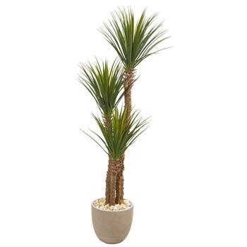 63 Yucca Artificial Tree in Sandstone Planter - SKU #9547