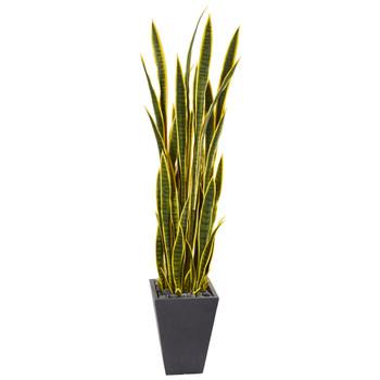 5.5 Sansevieria Artificial Plant in Slate Planter - SKU #9549