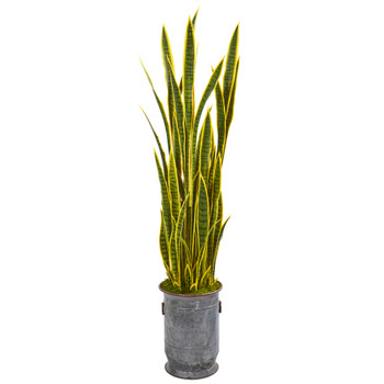 64 Sansevieria Artificial Plant in Metal Planter with Copper Trimming - SKU #9550