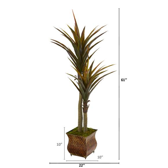 61 Yucca Artificial Tree in Decorative Planter - SKU #9551 - 1