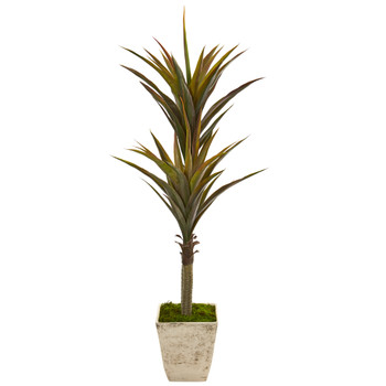 63 Yucca Artificial Tree in Country White Planter - SKU #9552