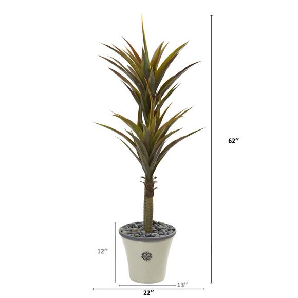 62 Yucca Artificial Tree in Decorative Planter - SKU #9553 - 1