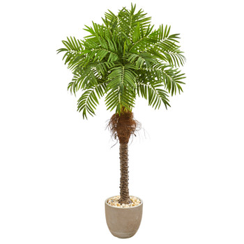 68 Robellini Palm Artificial Tree in Sandstone Planter - SKU #9556