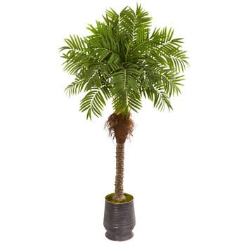 73 Robellini Palm Artificial Tree in Metal Planter - SKU #9558