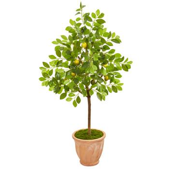 55 Lemon Artificial Tree in Terra Cotta Planter - SKU #9559