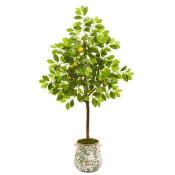 53 Lemon Artificial Tree in Floral Planter - SKU #9561