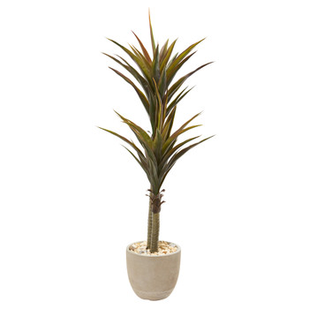 5 Yucca Artificial Tree in Sandstone Planter - SKU #9564